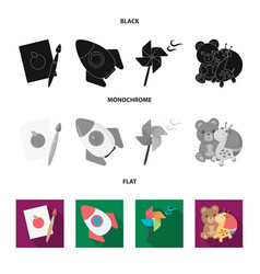 Children toy black flat monochrome icons in set vector