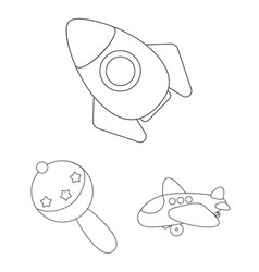 Children toy outline icons in set collection for vector