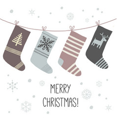 christmas socks a set of socks for the holiday vector image