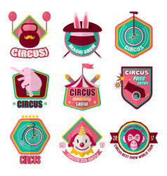 circus flat icons set clown magic hat vector image