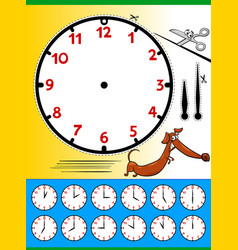 Clock face cartoon educational page vector
