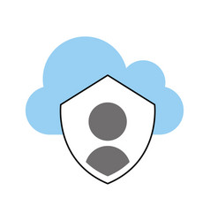 Cloud computing with security shield isolated icon vector