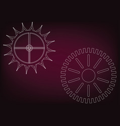 cogwheels on a burgundy vector image