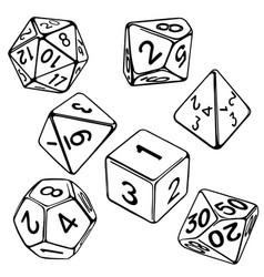 Collection dice for role-playing games isolated vector
