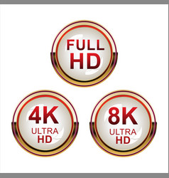 Collection of full hd 4k 8k and ultra hd icons 05 vector