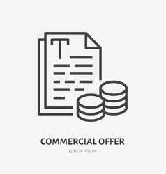 Commercial offer flat line icon price list vector