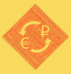currency exchange sign euro and russia ruble red vector image