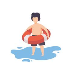 cute boy holding inflatable lifebuoy kid having vector image