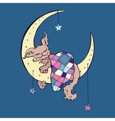Cute dog sleeps on moon vector