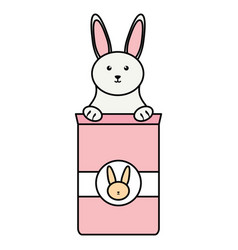 cute little rabbit with food bag vector image