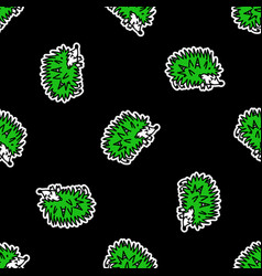 Cute punk rock hedgehog on black background vector