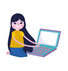 cute teen girl typing laptop computer social media vector image