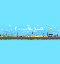 discover world poster with famous attractions vector image