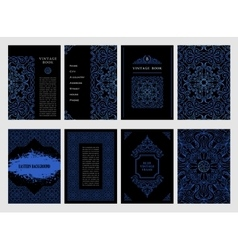 Eastern blue arabic lines design templates vector