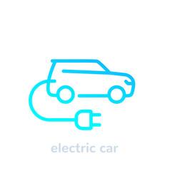 Electric car with plug ev line icon vector