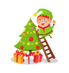 elf cartoon character decorate christmas tree star vector image