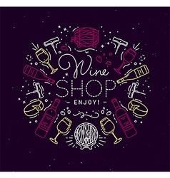 Flat alcohol monogram wine vector image