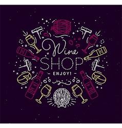 Flat alcohol monogram wine vector image