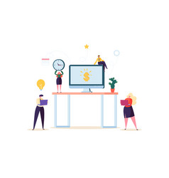 Flat people characters working in office computer vector