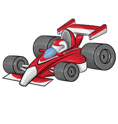 funny cartoon formula race car vector image
