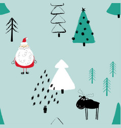 funny christmas forest seamless pattern vector image