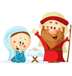 Funny Christmas nativity scene with holy family vector