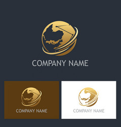 Golden globe technology company logo vector