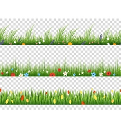 Green grass and spring flowers nature border vector