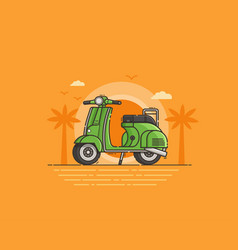 green scooter on sea shore vector image