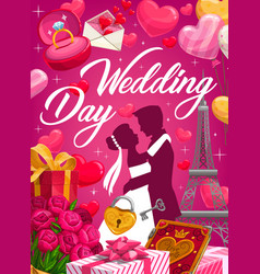 groom and bride with bouquet wedding invitation vector image