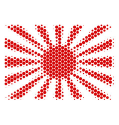 Halftone dot japanese rising sun icon vector