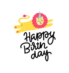 happy birthday greeting print cute postcard vector image
