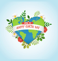 happy earth day greeting card for environment love vector image