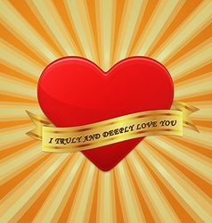 Heart with ribbon and phrase I Truly And Deeply vector image