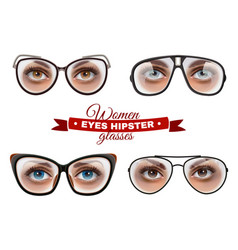 hipster women glasses set vector image
