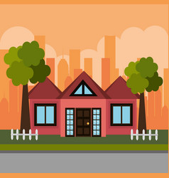 House in the neighborhood scene vector