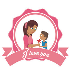i love you mom card - son gifting flower vector image