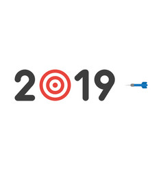icon concept of year of 2019 with bulls eye and vector image