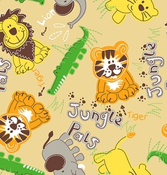 Jungle pals wild animals seamless pattern vector image