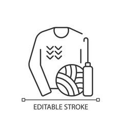 Knitwear alteration and repair linear icon vector
