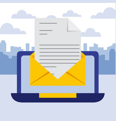 Laptop business email letter communication vector