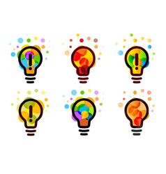 lightbulb icon creative idea logos set design vector image