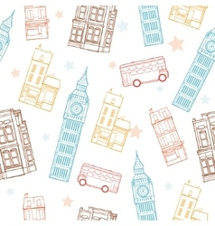 London Streets Colorful Seamless Pattern vector