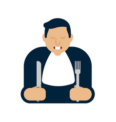 Man holding spoon and fork on white background vector