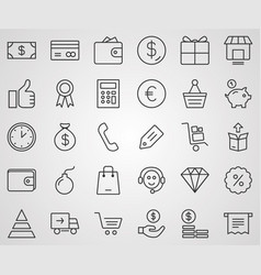 marketing icon set sign symbol vector image