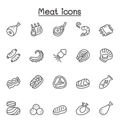 meat pork beef seafood icons set in thin line vector image
