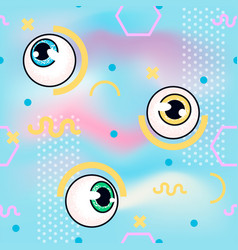 memphis pattern with eyeball fashin vector image