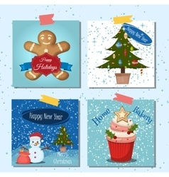 Merry Christmas greeting card set with snow vector image