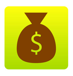 money bag sign brown icon at vector image
