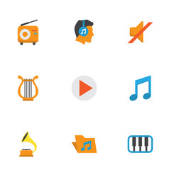 Multimedia flat icons set collection of portfolio vector